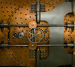 Exterior view of a bank vault door