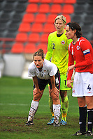 Lauren Cheney awaits a corner kick. The USA defeated Norway 2-1 at Olhao Stadium on February 26, 2010 at the Algarve Cup.