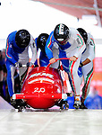 19 December 2010: Simone Bertazzo leads his 4-Man Bobsled team in the push-off, taking 8th place for Italy at the Viessmann FIBT World Cup Championships on Mount Van Hoevenberg in Lake Placid, New York, USA. Mandatory Credit: Ed Wolfstein Photo