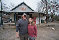 NWA Democrat-Gazette/J.T. WAMPLER Brian and Reagan Eisele stand outside the Oark General Store Thursday Feb. 2, 2017. The store was established in 1890 and is on the Register of Historical Places in Arkansas. They run the store after buying it about 5 years ago.