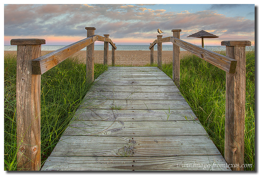 Small bridges connect the grassy areas to the beach at Rockport, Texas. This Texas coast image looks over one of these little walkways and takes you out onto the beach. If you kept going you'd go right into the nice waters of the Gulf of Mexico. I enjoyed my time here in Rockport.
