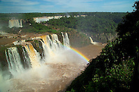 Foz de Iguacu, Brazil, October 2004. The waterfalls of iguazu are among the biggest and certainly the most beautiful falls in the world.  The waterfall system consists of 275 falls along 2.7 kilometres (1.67 miles) of the Iguazu River. Some of the individual falls are up to 82 metres (269 feet) in height, though the majority are about 64 metres (210 feet). The Garganta del Diablo or Devil's Throat (Garganta do Diabo in Portuguese), a U-shaped 150-metre-wide and 700-metre-long (490 by 2300 feet) cliff, is the most impressive of all, and marks the border between Argentina and Brazil. Most of the falls are within Argentine territory.  Photo by Frits Meyst/Adventure4ever.com
