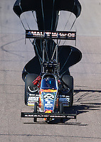 Feb 27, 2016; Chandler, AZ, USA; NHRA top fuel driver Terry McMillen during qualifying for the Carquest Nationals at Wild Horse Pass Motorsports Park. Mandatory Credit: Mark J. Rebilas-