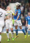St Johnstone v Celtic.....14.02.15<br /> Simon Lappin gets above Scott Brown<br /> Picture by Graeme Hart.<br /> Copyright Perthshire Picture Agency<br /> Tel: 01738 623350  Mobile: 07990 594431