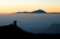 The Teide volcano (the highest mountain of Spain, 3.718 m), at sunrise from Gran Canaia Island, Canary Islands, Spain.