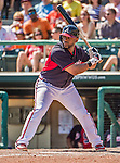 21 March 2015: Atlanta Braves infielder Alberto Callaspo in action during a Split Squad Spring Training game against the Washington Nationals at Champion Stadium at the ESPN Wide World of Sports Complex in Kissimmee, Florida. The Braves defeated the Nationals 5-2 in Grapefruit League play. Mandatory Credit: Ed Wolfstein Photo *** RAW (NEF) Image File Available ***