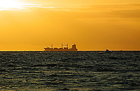 Container ship at sea at sunset.<br />