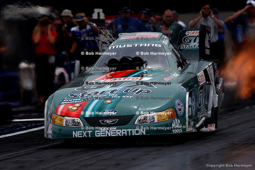 COLUMBUS, OH - MAY 22: John Force drives his Funny Car during the Pontiac Performance NHRA Nationals on May 22, 2005, at National Trail Raceway near Columbus, Ohio.