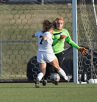 NWA Democrat-Gazette/J.T. WAMPLER Fayetteville's Gracie Cape can't stop the shot by Bentonville's Angelina Diaz (7) during the first half Friday April 14, 2017 at Bentonville. The Tigers won 1-0 and are 8-0 for the season.