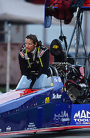 Aug. 31, 2012; Claremont, IN, USA: NHRA top fuel dragster driver Ike Maier during qualifying for the US Nationals at Lucas Oil Raceway. Mandatory Credit: Mark Rebilas-