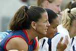 3 July 2004: Joy Fawcett (left) and Angela Hucles watch from the substitutes bench. The United States beat Canada 1-0 at the The Coliseum in Nashville, TN in an womens international friendly soccer game..