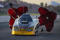 May 18, 2012; Topeka, KS, USA: NHRA top alcohol funny car driver Bryan Brown during qualifying for the Summer Nationals at Heartland Park Topeka. Mandatory Credit: Mark J. Rebilas-