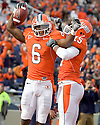 October 30, 2010 - Champaign, IL-  Illinois receiver Chris James (6) celebrates his touchdown catch with receiver Darius Millines (15) in the game between the University of Illinois Fighting Illini and the Purdue Boilermakers at Memorial Stadium.  Illinois defeated Purdue 44 to 10.