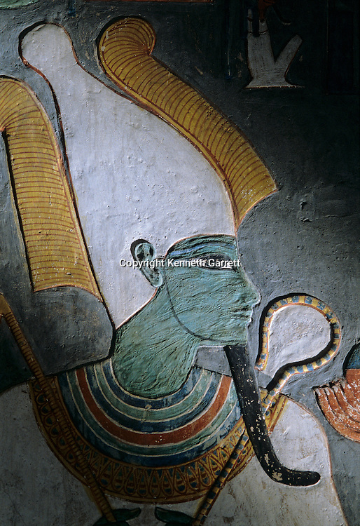 Painting of God Osiris, tomb of Horemheb;  Valley of the Kings,Tutankhamun and the Golden Age of the Pharaohs, Page 114