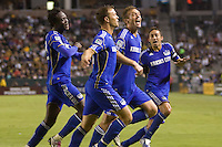 Kansas City Wizard midfielder Jimmy Conrad celebrates his goal with teammates. The Kansas City Wizards beat the LA Galaxy 2-0 at Home Depot Center stadium in Carson, California on Saturday August 28, 2010.
