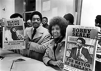 Former Black Panther Bobby Seale and Elaine Brown.running for Mayor and City Council in the city of Oakland, Ca (1973 photo by Ron Riesterer..copyright 1973)