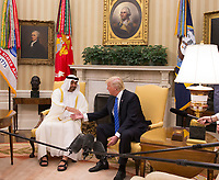 United States President Donald J. Trump shakes hands with Crown Prince Muhammad bin Zayid Al Nuhayyan of Abu Dhabi as they pose for photos in the Oval Office of the White House in Washington, DC, May 15, 2017. <br /> Credit: Chris Kleponis / Pool via CNP /MediaPunch