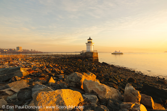 """Portland Breakwater Light during the spring  months. Located in Portland, Maine USA. Portland Breakwater Light is also called the """"Bug Light"""" and is located at the entrance to Portland Harbor. It was designed after a Greek monument"""