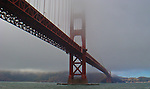 The Golden Gate Bridge in the fog in San Francisco, California. Jim Urquhart/Straylighteffect.com<br />