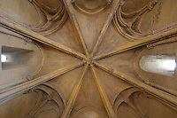 Octagonal Gothic ceiling of the Torre del Homenaje or Tribute Tower in the Alcazar de los Reyes Cristianos or Palace of the Catholic Kings, in Cordoba, Andalusia, Southern Spain. The Torre del Homenaje was renovated by Ferdinand and Isabella and here their knights swore allegiance to the Catholic faith. The alcazar was rebuilt during the Umayyad Caliphate in the 10th century and used as a royal fortress by the Moors and the Christians, as a base for the Spanish Inquisition, and as a prison. The alcazar is a national monument of Spain, and the historic centre of Cordoba is listed as a UNESCO World Heritage Site. Picture by Manuel Cohen
