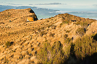 Mount Brown Hut nicely perched on ridge with views towards coastline on horizon, West Coast, South Westland, New Zealand