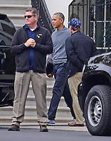 United States President Barack Obama departs the White House in Washington, DC for a round of golf at Joint Base Andrews on Friday, November 25, 2016.<br />