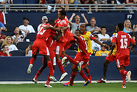 Panama players celebrate their equalizing goal...Canada and Panama played to a 1-1 tie in Gold Cup play at LIVESTRONG Sporting Park. Kansas City Kansas.