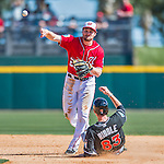 7 March 2016: Washington Nationals infielder Daniel Murphy doubles off J.T. Riddle during a Spring Training pre-season game against the Miami Marlins at Space Coast Stadium in Viera, Florida. The Nationals defeated the Marlins 7-4 in Grapefruit League play. Mandatory Credit: Ed Wolfstein Photo *** RAW (NEF) Image File Available ***