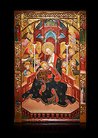 Gothic Altarpiece of the Madonna Nursing or Madonna Lactans, by Ramon de Mur, active around Tarrega and Montblanc circa 1412-1435, tempera and gold leaf on for wood, from the parish church of Santa Maria de Cervera (Segarra),  National Museum of Catalan Art, Barcelona, Spain, inv no: MNAC  15818. Against a black background.