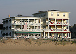 Flags on the porches of Historic Victorian Hotels in Ocean Grove,  New Jersey. Photo By Bill Denver/EQUI-PHOTO