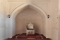 View from the front of throne in niche, Kurinish Khana or Throne Room, 1804-06, Kukhna Ark, Khiva, Uzbekistan, pictured on July 6, 2010, in the afternoon. The Kukhna Ark is the original home of the Khans. Although its foundations are 5th century, most of the complex is 19th century. Khiva, ancient and remote, is the most intact Silk Road city. Ichan Kala, its old town, was the first site in Uzbekistan to become a World Heritage Site(1991). Picture by Manuel Cohen.