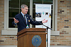 July 11, 2012; John Affleck-Graves, executive vice president, speaks at the grand opening for the Notre Dame Wellness Center. Photo by Barbara Johnston/University of Notre Dame
