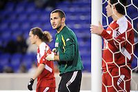 Louisville Cardinals goalkeeper Andre Boudreaux (30). The Louisville Cardinals defeated the Notre Dame Fighting Irish 1-0 during the semi-finals of the Big East Men's Soccer Championship at Red Bull Arena in Harrison, NJ, on November 12, 2010.