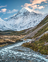 Aoraki, Mt. Cook as seen through Hooker Valley with Hooker River in foreground, Aoraki, Mount Cook National Park, Mackenzie Country, UNESCO World Heritage Area, New Zealand, NZ