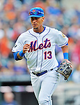 11 April 2012: New York Mets infielder Ronny Cedeno in action against the Washington Nationals at Citi Field in Flushing, New York. The Nationals shut out the Mets 4-0 to take the rubber match of their 3-game series. Mandatory Credit: Ed Wolfstein Photo