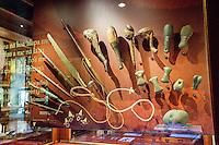 A Hawaiian weapon artifacts exhibit, Bishop Museum, Honolulu, O'ahu.