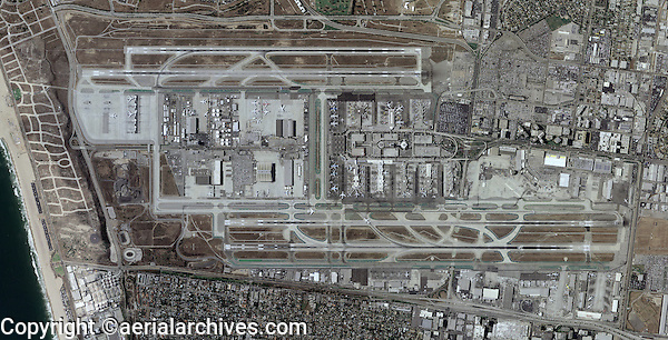 aerial photo  map of Los Angeles International Airport LAX, Los Angeles, California