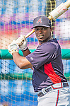 11 March 2013: Atlanta Braves outfielder Justin Upton awaits his turn in the batting cage prior to a Spring Training game against the Washington Nationals at Space Coast Stadium in Viera, Florida. The Braves defeated the Nationals 7-2 in Grapefruit League play. Mandatory Credit: Ed Wolfstein Photo *** RAW (NEF) Image File Available ***