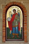 Travel stock photo of Archangel mosaic icon on Archangelos Michail orthodox church in Parekklisia village near Limassol in Cyprus Vertical