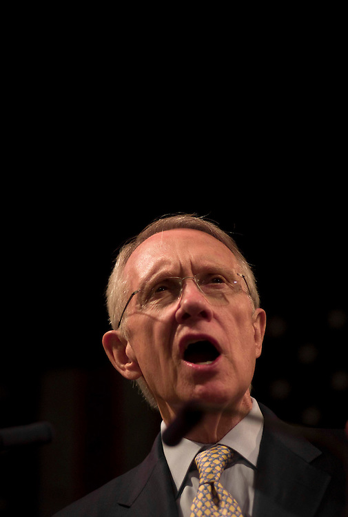 WASHINGTON, DC - Nov. 04: Senate Majority Leader Harry Reid, D-Nev., during the Democratic election night watch party at the Hyatt Regency on Capitol Hill. Minutes later, Democrat Barack Obama was declared to have defeated Republican John McCain. Obama will become the nation's 44th president, and its first black commander in chief. (Photo by Scott J. Ferrell/Congressional Quarterly)