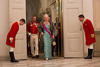 Le roi Philippe de Belgique et la reine Mathilde de Belgique en visite d'Etat au Danemark, sont invit&eacute;s au banquet d'Etat au Palais de Christiansborg, par le prince h&eacute;ritier Joachim de Danemark  la princesse Marie de Danemark, la princesse Mary de Danemark, le prince Frederik de Danemark et la reine Margrethe II de Danemark.<br /> Danemark, Copenhague, 28 mars 2017.<br /> King Philippe of Belgium &amp; Queen Mathilde of Belgium during a State Visit to Copenhagen in Denmark are attending the State Banquet at Christiansborg Palace with Crown Prince Joachim of Denmark,  Princess Marie of Denmark, Princess Mary of Denmark and Queen Margrethe II of Denmark.<br /> Denmark, Copenhagen, March 28, 2017.<br /> Pic : Queen Margrethe II of Denmark