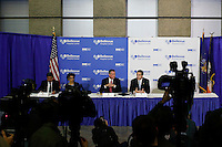New York City, NY. 23 October 2014. New York Mayor Bill de Blasio and New York Governor Andrew Cuomo attend a press conference at Bellevue Hospital in Manhattan after a doctor who treated Ebola patients in West Africa before returning to New York tested positive for Ebola.