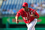 22 April 2010: Washington Nationals' starting pitcher Livan Hernandez on the mound against the Colorado Rockies at Nationals Park in Washington, DC. The Rockies shut out the Nationals 2-0 gaining a 2-2 series split. Mandatory Credit: Ed Wolfstein Photo