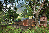 Tomb of the French artist Paul Gauguin, 1848-1903, in Calvary Cemetery, near Atuona, on the island of Hiva Oa, in the Marquesas Islands, French Polynesia. Gauguin lived in Atuona from 1901, having previously lived on Tahiti for many years. His tomb features Oviri, a sculpture from 1894 by Gauguin, a cast of which was placed on his grave in 1973. Picture by Manuel Cohen