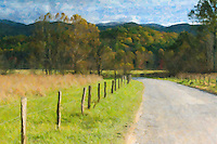 Hyatt Lane and fall foliage in Cades Cove, Great Smoky Mountains National Park. The image was creatively modified to resemble a painting.