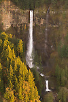 Aerial view of Multnomah Falls, Columbia River Gorge, Oregon..
