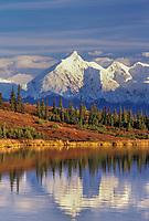 Mount Brooks, Wonder Lake, Alaska range, Autumn tundra, Denali National Park, Alaska