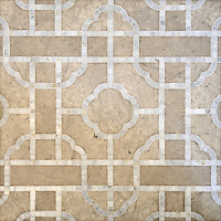 Royal Palace, a waterjet and hand-cut stone mosaic, shown in honed Palomar and polished Calacatta, is part of the Altimetry collection design by Paul Schatz for New Ravenna.