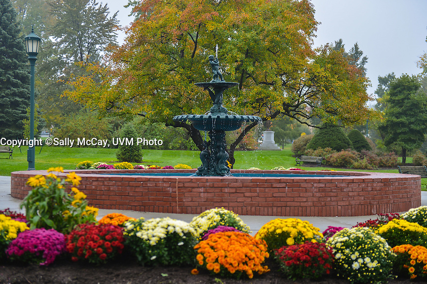 The Howard Fountain on the UVM Green, Fall UVM Campus