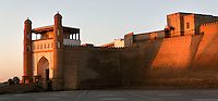 Ark citadel, 5th century, Bukhara, Uzbekistan, pictured on July 11, 2010, at sunset. Situtaed on an artificial hill of 9,2 hectares, it was the internal fortress of Bukhara and according to legend dates as far back as the early 1st century AD. Bukhara, a city on the Silk Route is about 2500 years old. Its long history is displayed both through the impressive monuments and the overall town planning and architecture.